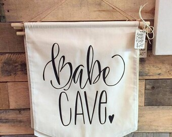 Babe Cave Girls Room Woman Cave Craft Room Pennant Flag Mountain Nursery Bunting Black & White