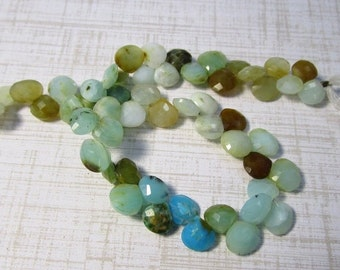 Natural Blue Peruvian Opal Briolette Beads, 8mm 6mm Gemstone 9 Inches