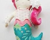 Handmade Plush Mermaid Doll-Pink Aqua Green White-Girl Gift-Birthday Gift-Cloth Fabric Mermaid Doll-Sea-Minky-Polka Dot-Softie Plushy