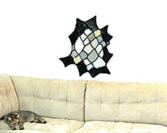 Black & White Ombre Patch Yarn Modern Fiber Art Asymmetrical Fuzzy Tapestry Circular Wall Hanging Handmade Interior Home Decor Crochet Knit