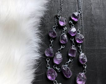 Raw amethyst necklace   Natural amethyst necklace   Rough amethyst crystal pendant   Raw purple mineral necklace   Amethyst jewelry