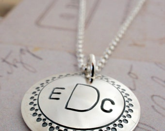 Monogram Jewelry - Custom Necklace in Sterling Silver - Personalized Coin Style Charm Pendant by Eclectic Wendy Designs