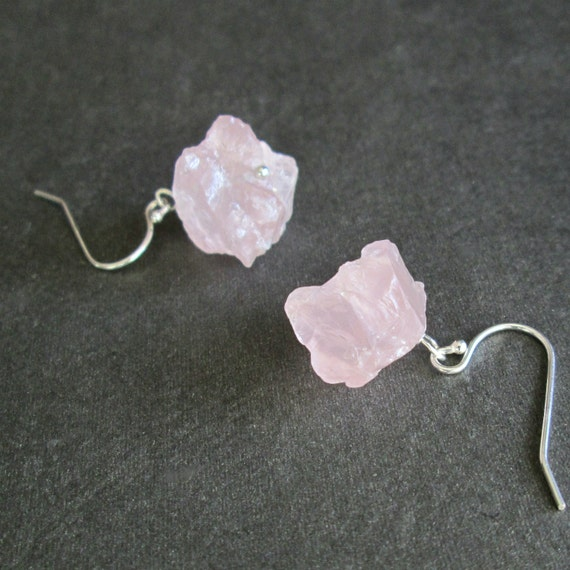 Raw Rose Quartz Earrings Pink Natural Crystal by cindylouwho2