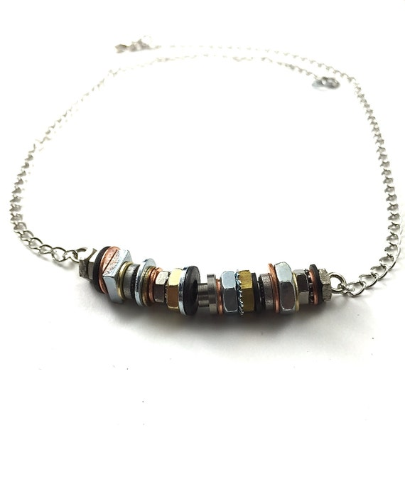 Statement Choker Necklace Mixed Metal Steampunk Industrial Hardware Jewelry