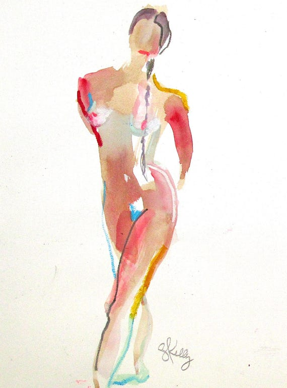 Nude painting- Original watercolor painting of Nude #1390 by Gretchen Kelly