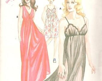 Kwik Sew 527 1970s  Misses Empire Waist Sheer NIGHTGOWN Pattern Womens Vintage Sewing Pattern Size S M L XL  Bust 32 - 45 UNCUT