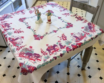 Vintage Mexican Tablecloth Colorful Village Ox Cart