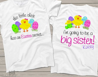 Easter big sister to be tshirt - easter chick and colored easter eggs big sister surprise pregnancy announcement shirt SNLE-036