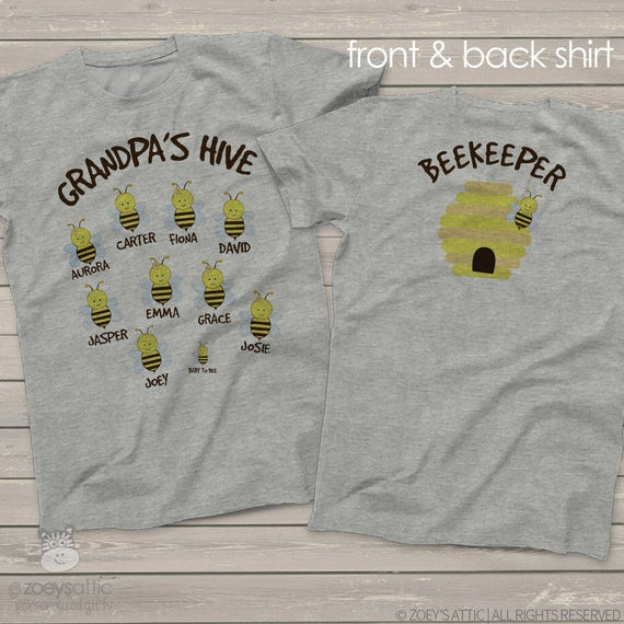 Grandpa shirt - grandpa beekeeper hive t-shirt personalized with grandkid names - great gift for Father's Day or birthday MDF1-055