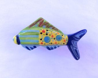 Fish Knob, Fish Drawer Pull, Nautical Knobs, Beach House Knobs, Beach House Decor, Kitchen Cabinet Knob,  Fish Handles, Colorful Fish Knob