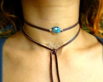 Choker necklace or wrap bracelet combination, lariat necklace, bezel gemstone, bohemian, boho, Otis B, custom color, labradorite, hippie