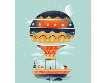 Fly Me to the Moon / Ballon Print / Balloon House Print / Whale Wall Art / Beautiful Print / Floating House Print / Home Decor / 8 x 10