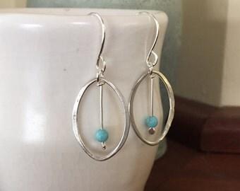 Medium Oval Hoop Earrings, Sterling Silver Hand Forged Metal Hoop Earrings with Turquoise Bead