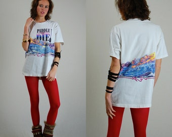 American River Tee Vintage 1990 PADDLE or DIE American River Association Soft Graphic Distressed T Shirt (l xl)