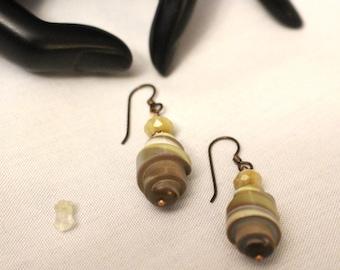 Beaded Dangle Roll Earrings no.1