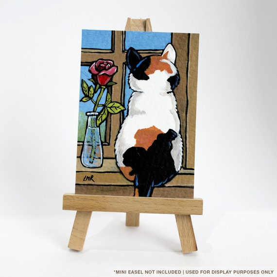 Original ACEO Calico Cat with Rose | Kitty Flower Windowsil | It's A Cat's Life Whimsical Cat Art Illustration by Lisa Marie Robinson