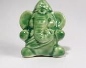 Ganesh Statue Miniature Folk Art Ceramic Figurine Ganesha Green Spiritual Gift