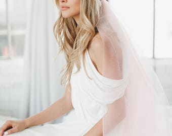 Pink Juliet Cap Veil, Blush Bridal Veil, Lace Cap Veil, Art Deco Cap Veil, Wedding Veil, Vintage Veil, Pink Veil, 1920s Veil, 1718
