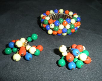 Unusual Vintage Multi-Colored Bead Cha Cha Expansion Bracelet and Earrings Set