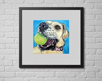 "YELLOW LAB Art, Dog Print, Labrador Dog Wall Art, Gifts for Dog Lovers, 8x8"""