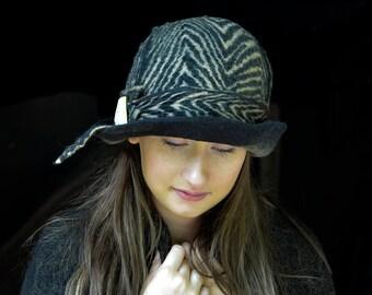 Unique Felt Hat, Felted Cloche,Zebra cloche, Felted wool hats, Womens winter hats, Felt hat for women, Handmade in France