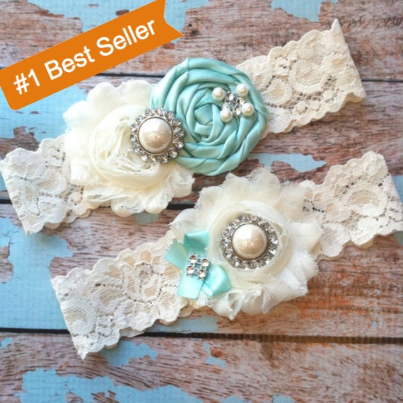 AQUA  wedding garter set / bridal  garter/  lace garter / toss garter included /  wedding garter / vintage inspired