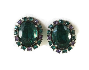 Emerald Green Cut Glass & Rhinestone Earrings with Green and Purple Vintage