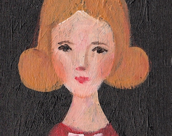 Woman in red / small original acrylic painting /  vintage painting - wall art- wall decor- home decor - black and red painting