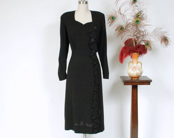 Vintage 1940s Dress - Sultry Black Rayon Sequined Waterfall Ruffle 40s Cocktail Dress with Strong Shoulders and Sweetheart Neckline