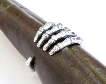 Skeleton Hand Ring in Solid White Bronze  with Silver Overlay Anatomical Gripping  Hand Skeleton Ring 548
