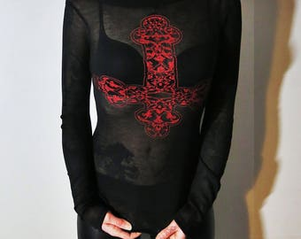 Hell Couture Kruzifixx Black & Red Cowl Neck Top