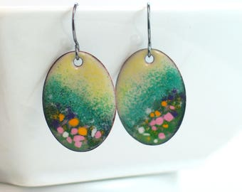 Enameled Artisan Original Earrings, Colorful Flower Fields, Landscape Inspired, Ready to Ship, One of a Kind Copper Enamel Colorful Earrings