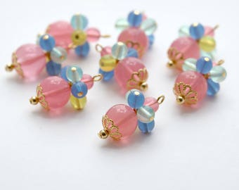 Vintage Lucite Beaded Charms Bead Drops Pink Blue Green Pendant Beads Brass Caps 27mm (10)