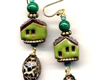 Malachite Clay House Earrings, 18 K Gold Filled Earrings, Clay Cottage Earrings, Miniature Terracotta House Earrings, Green House by Ann