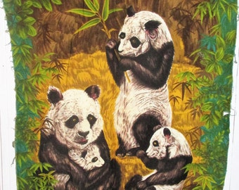 Wesco Reltex Vintage Barkcloth Fabric Poster Vintage Panda Fabric Mid Century Wall Hanging Home Decor Free Shipping