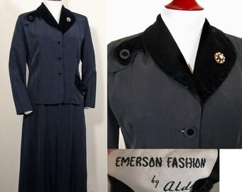 1950s Black Faille Ladies Vintage Suit with Velvet Accents SZ L