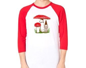 Mushroom T-Shirt, Mushroom tshirt, Gnome Shirt, Red Toadstool, Unisex Gnome Mushroom raglan shirt, woodland design, Gnome gift, gift for him