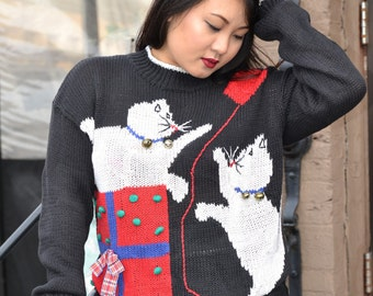 VTG 80s Kitty Cats Jingle Bell Christmas Sweater Women Size Small