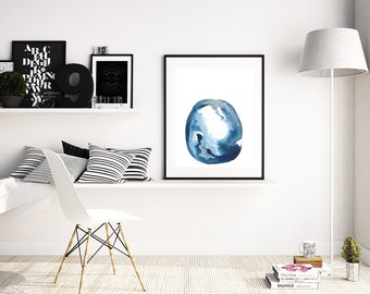 """Modern Blue Abstract Painting """"Alnilam"""" by Jules Tillman. Fine Art Print minimal abstract watercolor painting White Silver Scandi Art Prints"""