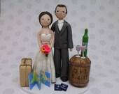 Bride & Groom Custom Travel and Wine Theme Wedding Cake Topper - reserved for mammarellawedding
