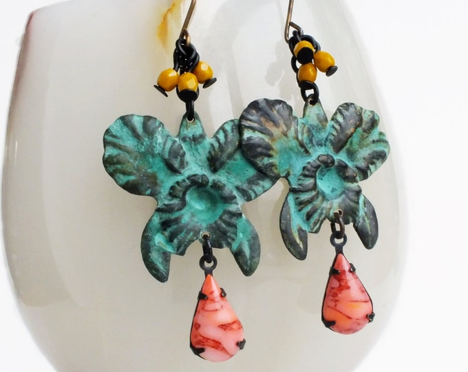Orchid Earrings Green Flower Earrings Large Orchid Earrings Verdigris Jewelry Statement Bridal Wedding Dangle Earrings