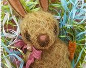 Primitive Mohair Bunny Rabbit Spring Tuck Doll Peanut Butter