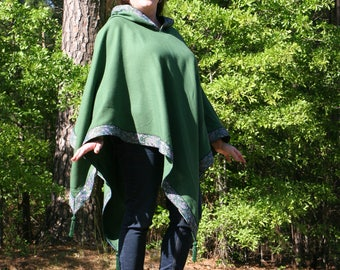 Emerald Green Poncho with Paisley Trim Pointed Hood Beaded Tassels Fairy Garb One of A Kind!