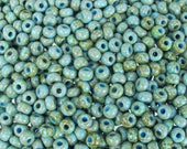 2/0 Opaque Blue Turquoise Picasso Czech Glass Seed Beads 20 Grams (CS236) SE