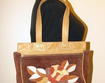 Boho 1970s Leather Floral Shoulder Bag