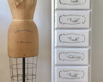 Vintage distressed antique white  tall lingerie french dresser