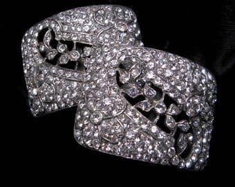 VINTAGE RHINESTONE Shoe BUCKLES Clips Antique French Paste Pair Art Deco Signed H.M. Inc. Belt Scarf Slide Wedding Accessories Restored