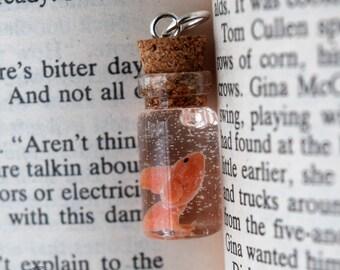 Tiny Golfish Glass Bottle Necklace