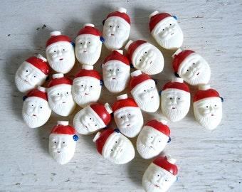 Vintage Santa Light Covers   Plastic Blow Mold Santas   Santa Heads