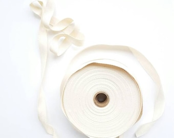 "1/2"" wide natural cotton ribbon - by the yard"